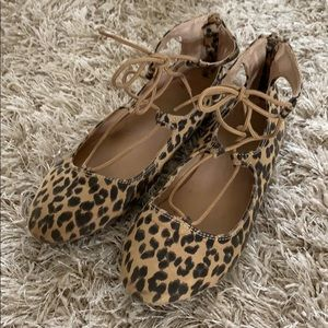 Girls' OLD NAVY Leopard Print Tie-Up Shoes - Sz 3